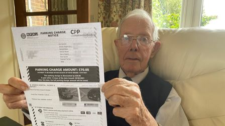 Gerald Kelly, 91, from Alderton, is appealing what he says is an unfair parking fine from Ipswich Hospital.