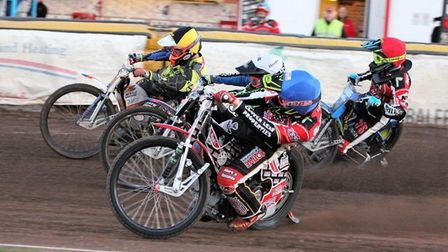 Ipswich pairing Kyle Newman, yellow and Cameron Heeps, white, in action against Ulrich Ostergaard, b