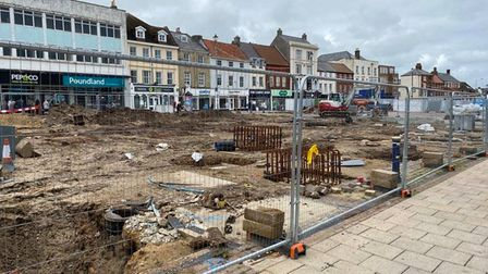Work is ongoing at the site of Great Yarmouth's new £4.6 million marketplace.