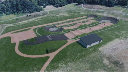 An artist's impression of what the new Ipswich BMX track will look like