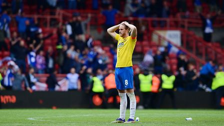 Dejection for Asa Hall, Captain of Torquay United during the National League Play-off Final Match be