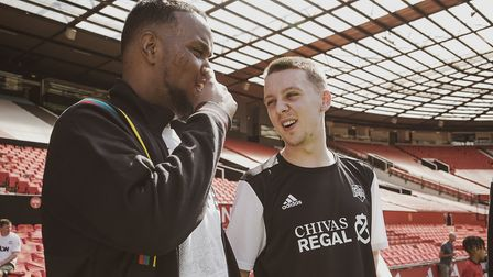 Chunkz and Aitch taking part in the Chivas v Gaffer game at Old Trafford