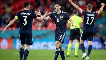 Scotland's Andrew Robertson (left) and Kieran Tierney react after the UEFA Euro 2020 Group D match a