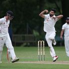 N Dwivedi in bowling action for Wanstead during Wanstead and Snaresbrook CC (fielding) vs Brentwood