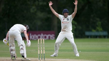 J Ellis-Grewal of Wanstead appeals for a wicket during Wanstead and Snaresbrook CC (fielding) vs Bre