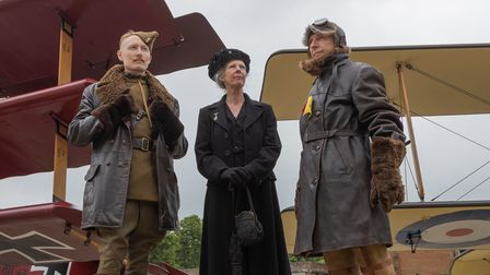 Living history re-enactors at the IWM Duxford Father's Day flying day