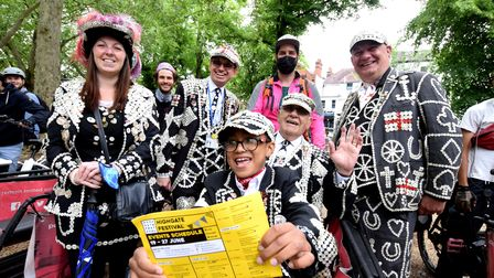 Pearly kings and queens from Highgate Finsbury, Welwyn Garden City and Thornton Heath at Highgate Festival