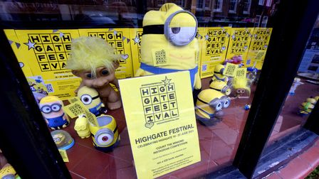 The Highgate Festival window display at Highgate Vets (with added Minions)