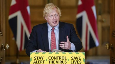 Prime Minister Boris Johnson during a media briefing in Downing Street. Photograph: PA Video/PA Wire.