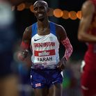 Great Britain's Sir Mo Farah sprints to the finish line in the Men's International Race A, part of t