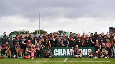 Saracens pose with their trophy after the Greene King IPA Championship play off final second leg mat