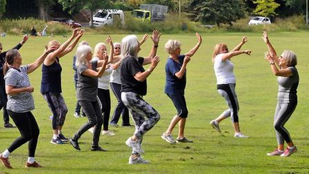 Mary Qiriaqi, right, holds a dance and exercise class Moves to Music on Ilsham Valley during lockdown.