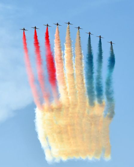 The Red Arrows perform at the G7 Summit at Carbis Bay hotel, Cornwall.12th June