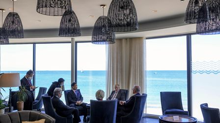 The Prime Minister Boris Johnson chairs the summit on day 2 in front of a view of St Ives Bay