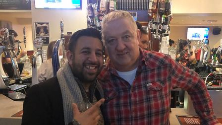 Martin Whelan, landlord of the Tollington Arms in Hornsey Road, Holloway, with Akhil Vyas of the Arsenal Supporters Trust