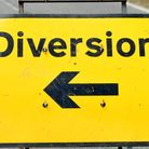 General view of a diversion sign, London.