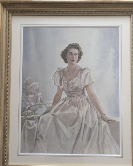 A portrait painted from a picture taken by Dorothy Wilding, official photographer at the Queen's Coronation