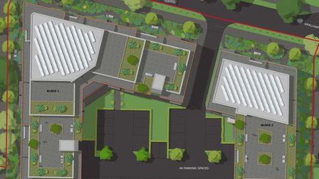 A bird's-eye view of the proposed buildings. Picture: Bryant+Moore Architects
