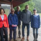 Catherine West MP, archaeologistHarvey Sheldon, Nick Peacey and actors Hugh Dennis and Claire Skinner in Highgate Wood.