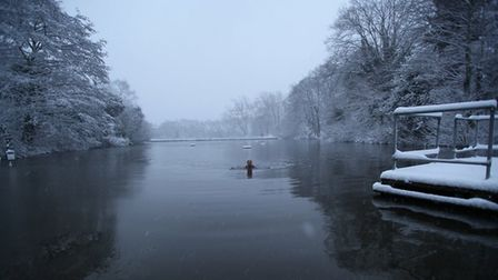 Margaret Dickinson winter swimming at the Mixed Pond