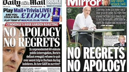 The front pages of the Daily Mail and Daily Mirror. Photograph: TNE/Twitter.