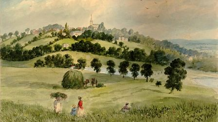 """Highgate Church fromParliament Hill (EH Dixon, 1841)- the Heath in its """"natural aspect andstate"""""""