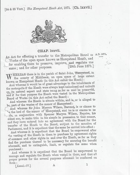 The first page of the 1871 Hampstead Heath Act