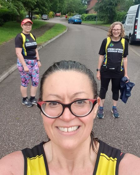 Helen Marson-Smith, Jo Sopala andLindsey Lucas of North Herts Road Runners