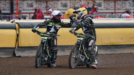 Danny King and Jake Allen celebrate their 5-1 in heat seven.