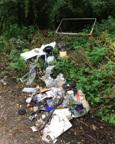 Mixed household waste including cardboard, plastic, electrical items, tiles and metal were dumped in Yanley Lane.