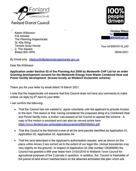 Part of the letter sent by Fenland Council to try and stop surveys of their land