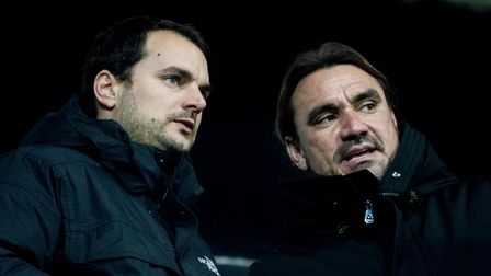 Norwich City Manager Daniel Farke and Stuart Webber during the FA Youth Cup match at Carrow Road, No