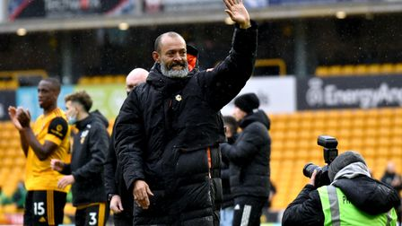 Wolverhampton Wanderers manager Nuno Espirito Santo waves to the fans after his final game in charge