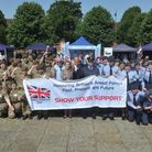 Army cadets and Air Training Corps with North Herts District Council chairman Jean Green and Henlow
