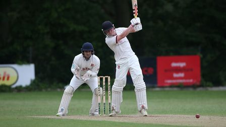 G Balmford in batting action for Brentwood during Wanstead and Snaresbrook CC (fielding) vs Brentwoo