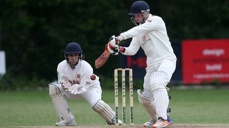 T Oakley in batting action for Brentwood during Wanstead and Snaresbrook CC (fielding) vs Brentwood