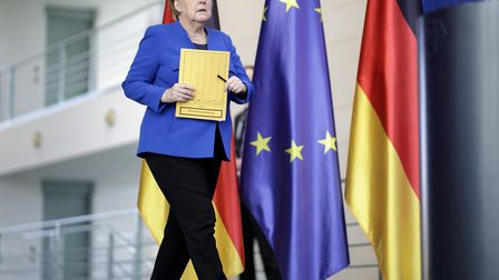 Germany's chancellor Angela Merkel, CDU, gives a statement and press conference after a meeting of t