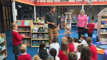 The unveiling of thelibrary and atrium area at Grove Primary School in Lowestoft in September 2019.