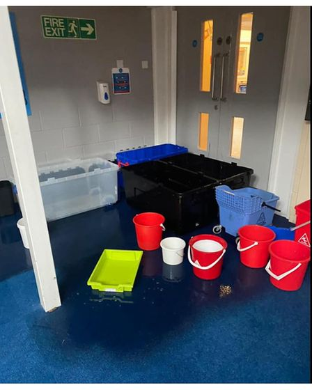 The flood-hit library area at Grove Primary School in Lowestoft.