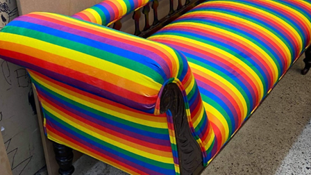 A rainbow chaiseupholstered byAndrea Hill for the trail, which will be going in a vacant shop in the Royal Arcade.