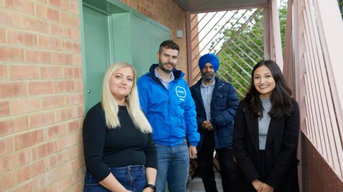 Sarah Essoof, a resident at Gardner Close in Wanstead, Nick Cuff of Pocket Living, Jas Athwal and Vanisha Solanki.