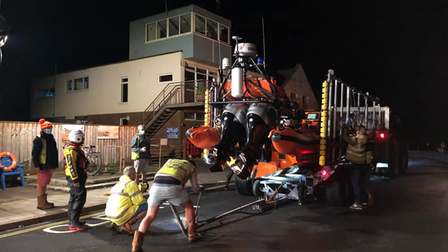 Sidmouth Lifeboat launches to the rescue