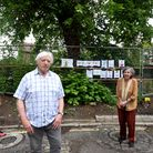 Barbara Bryant, Barry and Margaret Benson and John Bryant in front of the lime tree in North Hill Avenue