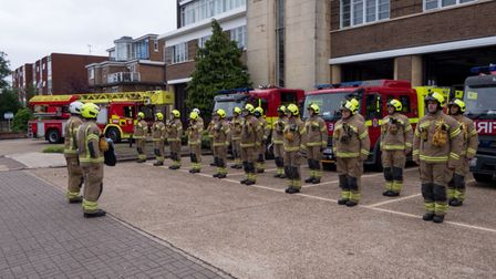 Firefighters at Wembley Fire Station bid farewell to Station Master Neil Cash on his retirement