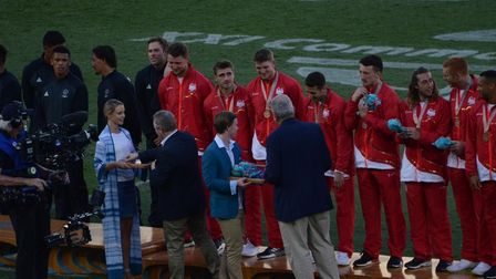 Ethan Waddleton pictured receiving his bronze medalat the Commonwealth Games.