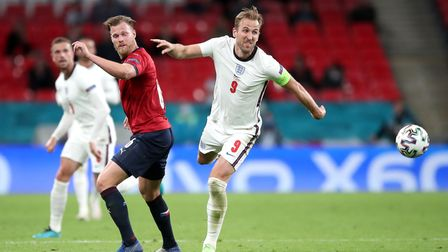 England's Harry Kane (right) trips going past Czech Republic's Tomas Kalas during the UEFA Euro 2020