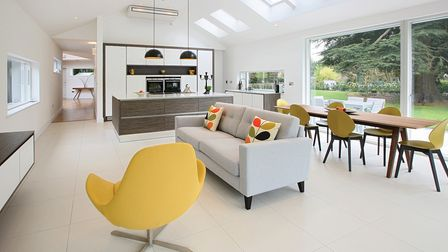 Open plan kitchen and living spaced designed by Bower Willis Designs in Shipston