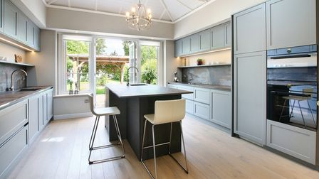 Blue and white contemporary kitchen designed by Bower Willis Designs in Shipston on Stour