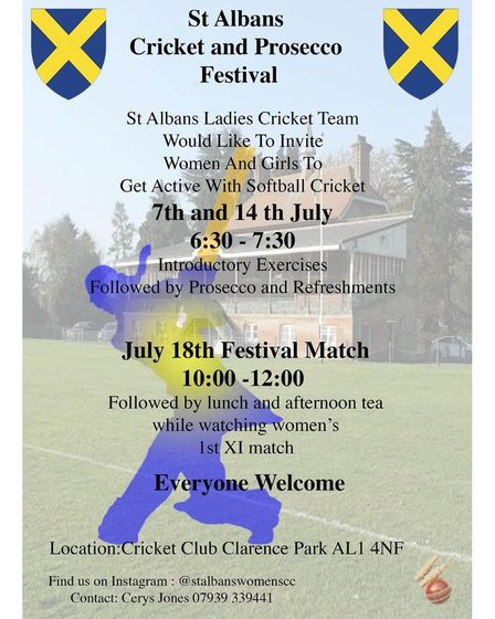 The poster advertising the ladies' cricket festival at St Albans