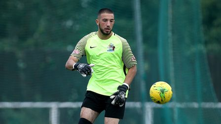New Potters Bar Town goalkeeper Hafed Al-Droubi in action for Harrow Borough